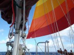Our Westsail 42 Flying the Drifter Free